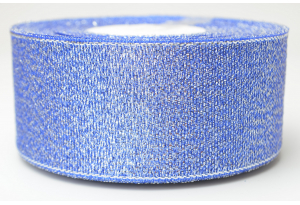 Лента парчовая 4 см, синяя с серебром