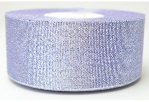 Лента парчовая 4 см, сиреневая с серебром