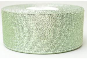 Лента парчовая 4 см, тиффани с серебром