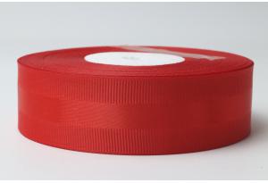 Репсовая лента 2.5 см, с атласной полосой, красная