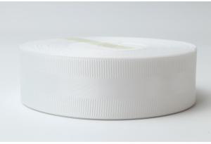 Репсовая лента 2.5 см, с атласной полосой, белая