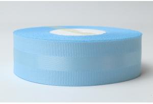 Репсовая лента 2.5 см, с атласной полосой, голубая, 97