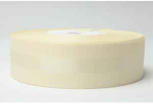 Репсовая лента 2.5 см, с атласной полосой, кремовая