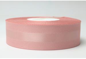 Репсовая лента 2.5 см, с атласной полосой, пастельно-розовая, 161