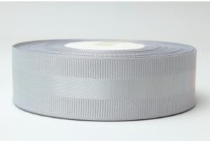 Репсовая лента 2.5 см, с атласной полосой, серая