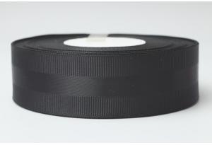 Репсовая лента 2.5 см, с атласной полосой, черная