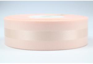Репсовая лента 2.5 см, с атласной полосой, нежно-розовая