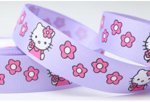 Репсовая лента 2.5 см, Hello Kitty Sweet с цветочками, сиреневая
