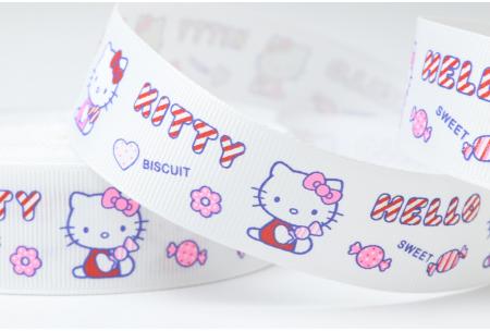 Репсовая лента 2.5 см, Hello Kitty Sweet с конфетой, белая