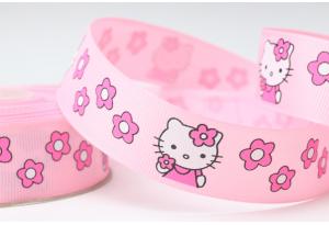 Репсовая лента 2.5 см, Hello Kitty Sweet с цветочками, розовая