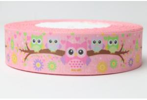 Репсовая лента  2.5 см, совы, розовая