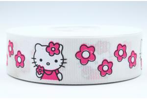 Репсовая лента 2.5 см, Hello Kitty Sweet с цветочками, белая
