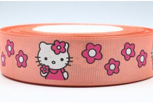 Репсовая лента 2.5 см, Hello Kitty Sweet с цветочками, темно-персиковая