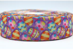 Репсовая лента 2.5 см с рисунком Пасхальная, яйца на темно-сиреневом