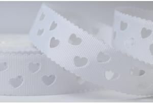 Репсовая лента 2.5 см с перфорацией, сердечки, белая