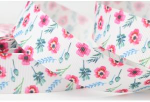 Репсовая лента 2.5 см с рисунком цветы маки маленькие, с веточками