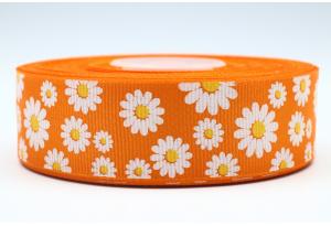 Репсовая лента 2.5 см с рисунком Ромашки, оранжевая