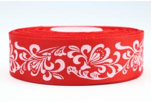 Репсовая лента 2.5 см с рисунком Орнамент, красная