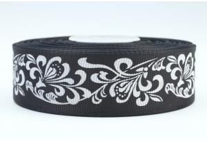 Репсовая лента 2.5 см с рисунком Орнамент, черная