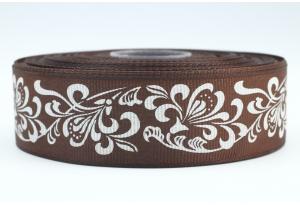 Репсовая лента 2.5 см с рисунком Орнамент, коричневая