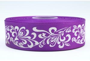 Репсовая лента 2.5 см с рисунком Орнамент, фиолетовая