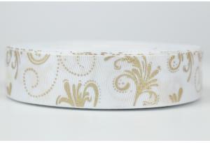 Репсовая лента 2.5 см с рисунком золотые вензеля на белом