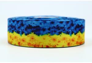 Репсовая лента 2.5 см укр. стиль, желто-голубые цветы