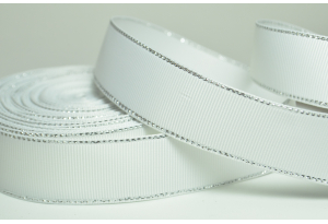 Репсовая лента с люрексом (серебро) 2.5 см, белая