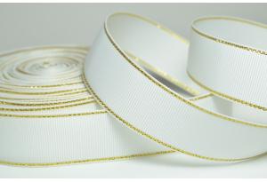 Репсовая лента с люрексом (золото) 2.5 см, белая