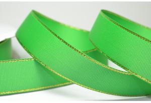 Репсовая лента с люрексом (золото) 2.5 см, зеленая