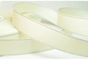 Репсовая лента с люрексом (серебро) 2.5 см, кремовая