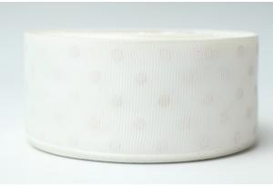 Репсовая лента 4 см, горох, айвори