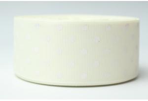 Репсовая лента 4 см, горох, кремовая