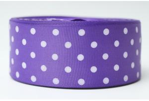 Репсовая лента 4 см, горох, фиолетовая