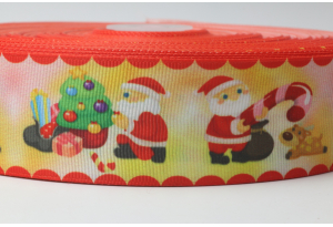 Репсовая лента 4 см с рисунком Новый год - Санта, красно-желтая