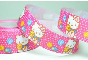 Репсовая лента 2.5 см, Hello Kitty с конфетой, малиновая
