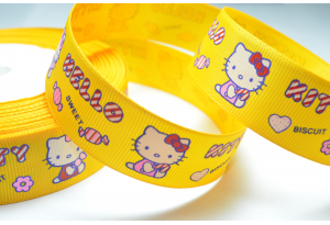 Репсовая лента 2.5 см, Hello Kitty Sweet с конфетой, желтая