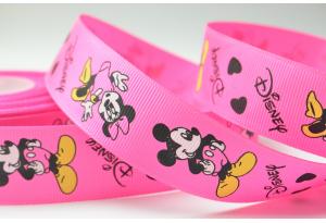Репсовая лента 2.5 см, Дисней - Микки и Минни Маус, ярко-розовая