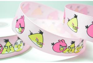 Репсовая лента 2.5 см, Angry birds, светло-розовая