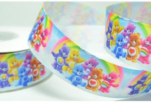 Репсовая лента 2.5 см, Мишки Гамми с радугой, светло-голубая