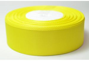Репсовая лента 2.5 см, однотонная, желтая, 15
