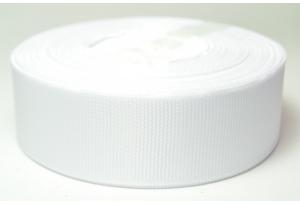 Репсовая лента 2.5 см, однотонная, белая, 01
