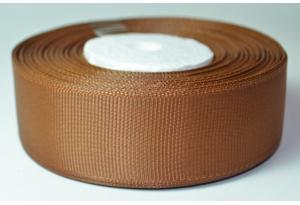 Репсовая лента 2.5 см, однотонная, шоколадная