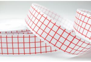 Репсовая лента 2.5 см с рисунком Клеточка, белая