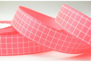 Репсовая лента 2.5 см с рисунком Клеточка, ярко-розовая