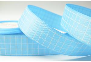 Репсовая лента 2.5 см с рисунком Клеточка, голубая