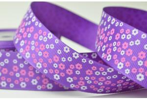 Репсовая лента 2.5 см с рисунком Цветочное поле, фиолетовая