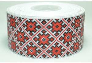 Репсовая лента 4 см, орнамент ромб, красный