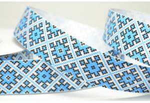 Репсовая лента 2.5 см, орнамент ромб, синий