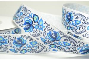 Репсовая лента 2.5 см, с цветами, петушки синие